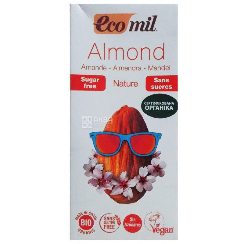 Ecomil, Almond milk, 1 л, Екоміл, Рослинний напій, Мигдаль, без цукру