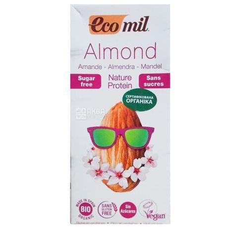 Ecomil, Almond milk, Protein, 1 л, Экомил, Растительный напиток, Миндаль с протеином, без сахара