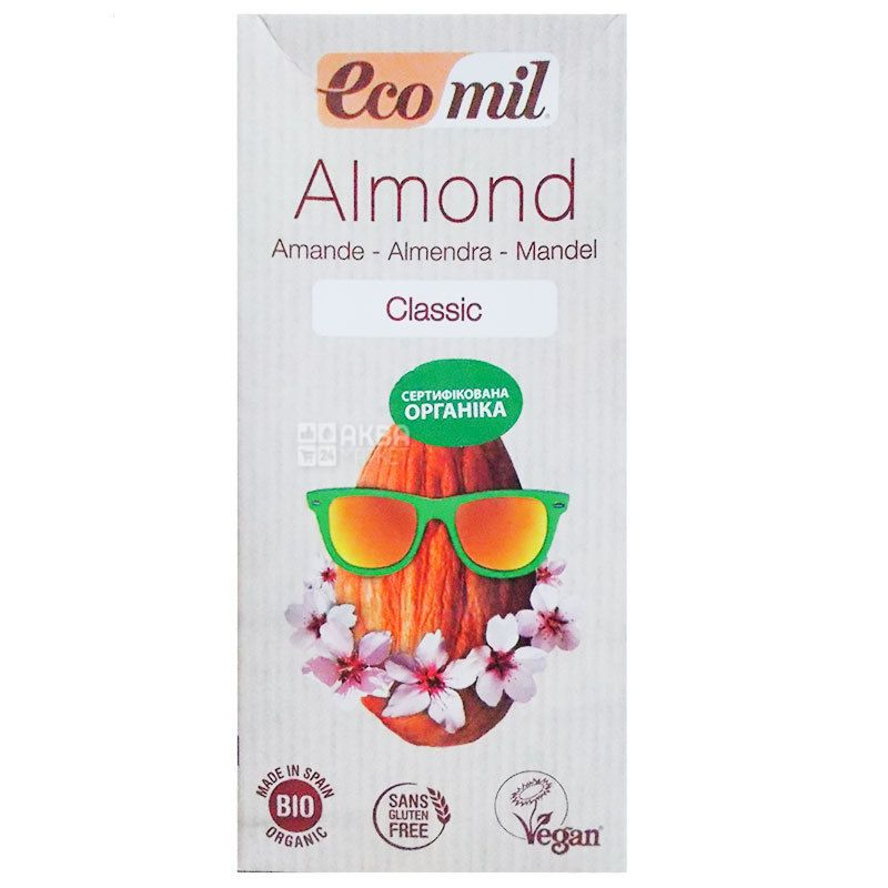 Ecomil, Almond Classic, 1 л, Екоміл, Рослинний напій, Мигдаль, без глютену
