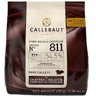 Callebaut, Belgian Chocolate, 54,5%, 400 г, Каллебаут, Бельгійський чорний шоколад, дропси