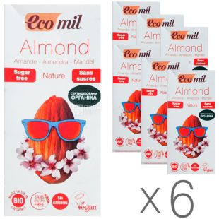 Ecomil, Almond milk, 1 L, Ekomil, Herbal drink, Almonds without sugar, Pack of 6 pcs.
