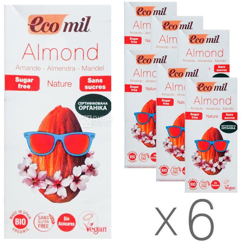 Ecomil, Almond milk, 1 л, Екоміл, Рослинний напій, Мигдаль без цукру, Упаковка 6 шт.