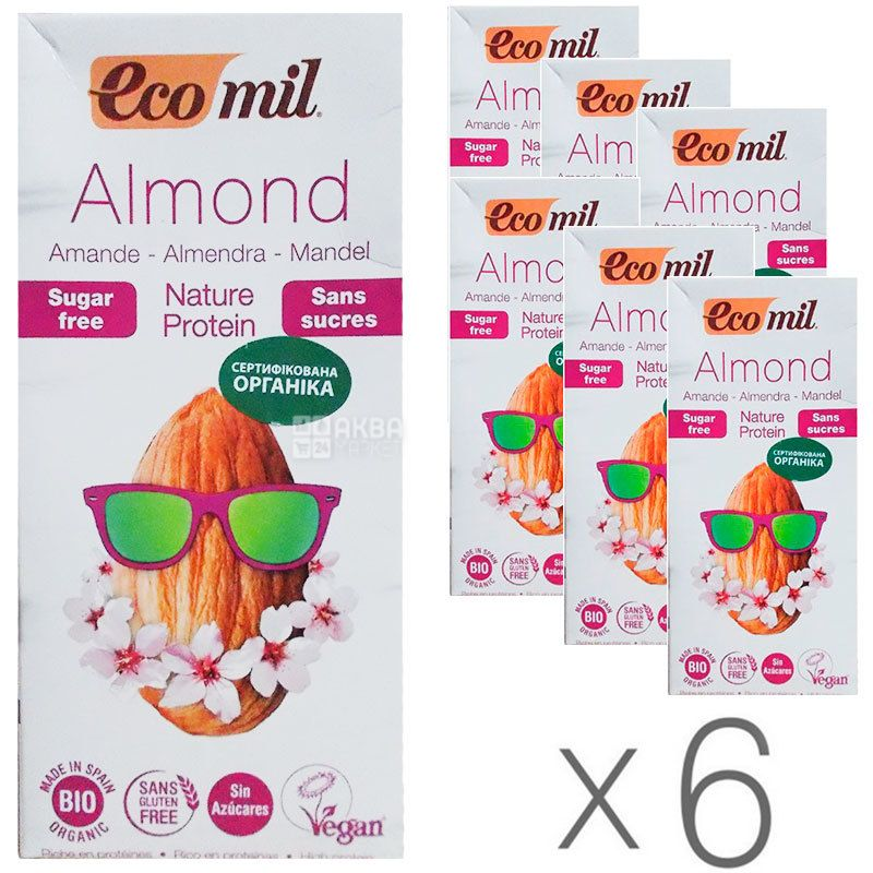 Ecomil, Almond milk, Protein, 1 л, Экомил, Растительный напиток, Миндаль с протеином, без сахара, Упаковка 6 шт.