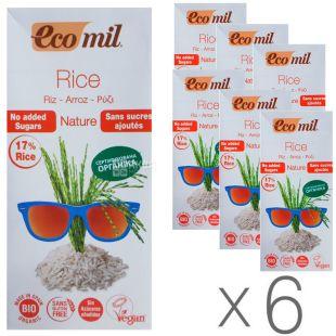 Ecomil, Rice, 1 л, Екоміл, Рослинний напій, Рис без цукру, Упаковка 6 шт.