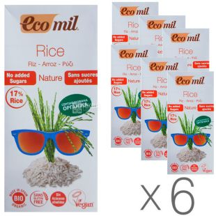 Ecomil, Rice, 1 л, Экомил, Растительный напиток, Рис без сахара, Упаковка 6 шт.