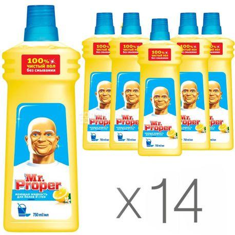 Mr. Proper, Средство для мытья полов и стен, Лимон, 750 мл, упаковка 14 шт.