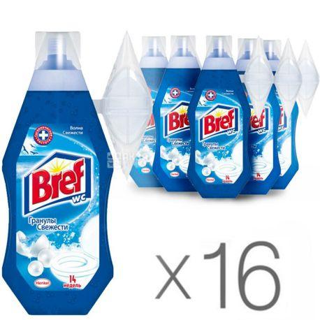 Bref, Блок для унитаза, С корзинкой, Волна свежести, 360 мл, Упаковка 16 шт.