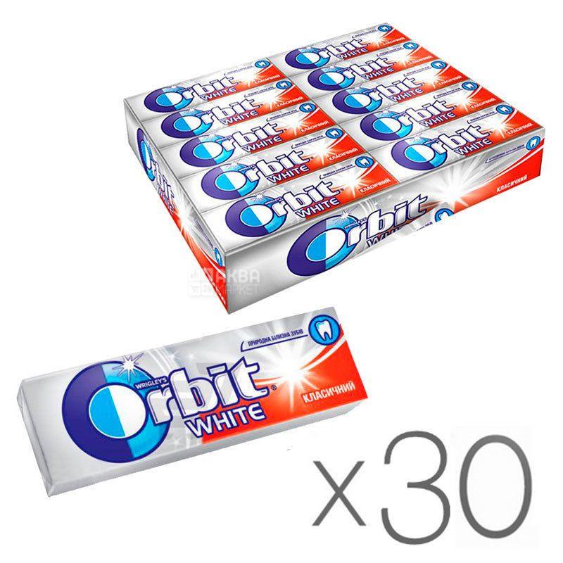 Orbit White Classic, 14 г, Упаковка 30 шт., Жувальна гумка, Орбіт