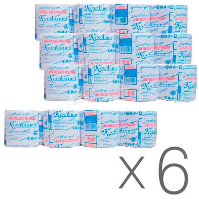 Кохавинка, Упаковка 6 шт. по 8 рул., Туалетная бумага, 1-слойная