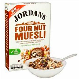 Jordans, 600 г, Мюсли Джорданс, смесь злаков, четыре ореха, сухой завтрак, быстрого приготовления