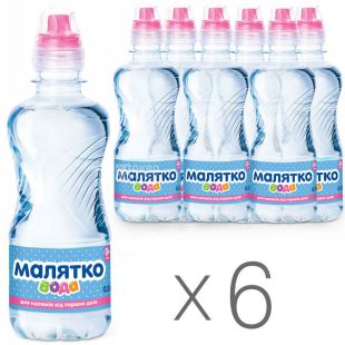 Malyatko, Packing 6 pcs. on 0,33 l, Still water, Children, PET, PAT