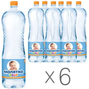 Malyatko, Packing 6 pcs. on 1,5 l, Water not aerated, Children's, PET, PAT