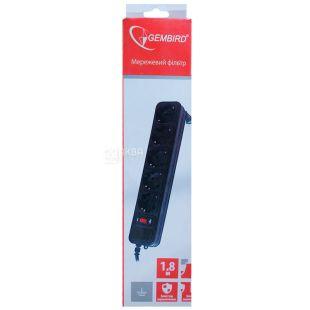 Gembird SPG5-G-6B, Сетевой фильтр, черный, 1,8 м, 5 розеток
