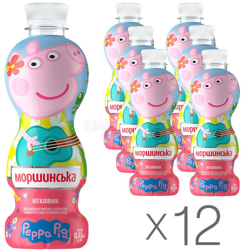 Моршинская, Свинка Пеппа, 0,33 л, Упаковка 12 шт., Вода негазированная, ПЭТ