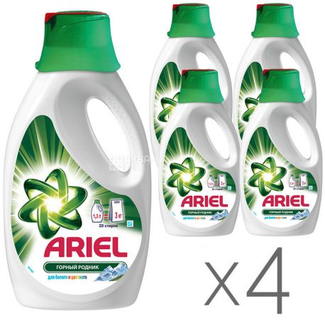 Ariel, 1,3 л, Порошок рідкий, Для білої і кольорової білизни, Mountain spring, упаковка 4 шт.