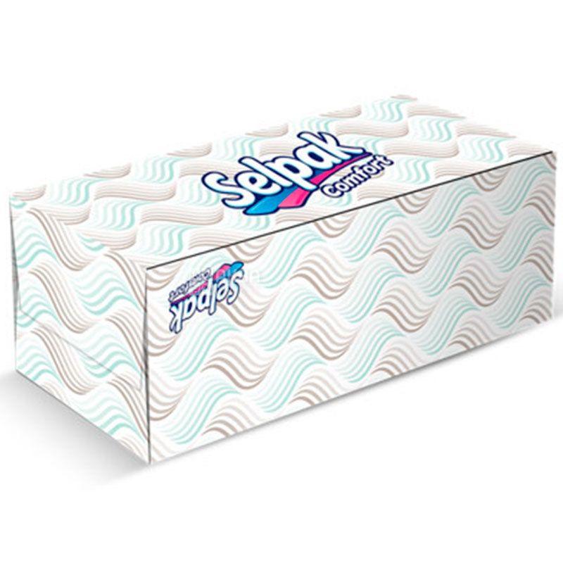 Selpak Comfort, 150 шт., Салфетки косметические Селпак Комфорт, 2-х слойные, 21х21 см, белые