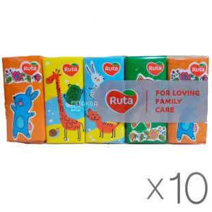 Ruta Baby, 10 упаковок по 10 шт., Хусточки носові паперові Рута, Дитячі, 3-х шарові