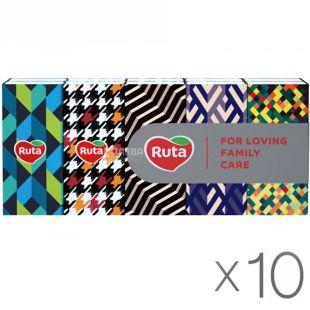Ruta Style, 10 упаковок по 10 шт., Платочки носовые бумажные Рута Стайл, 3-х слойные