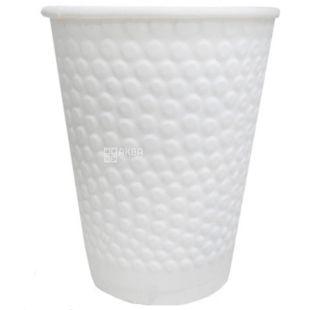 Стакан паперовий двошаровий з тисненням Бульбашки, білий, 110 мл, 30 шт., D60