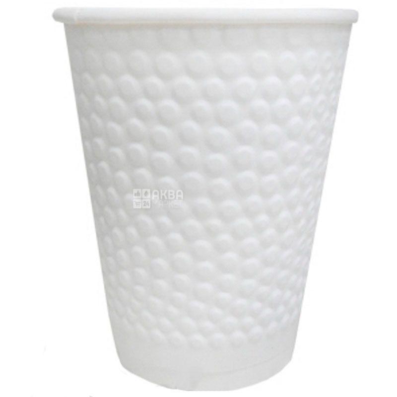 Стакан бумажный двухслойный с тиснением Пузыри, белый, 110 мл, 30 шт., D60