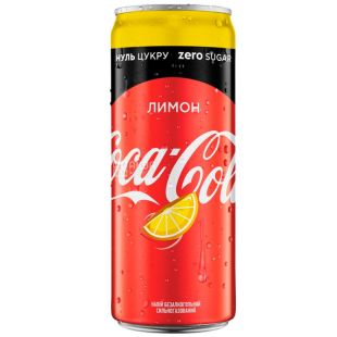 Coca-Cola Zero, Lemon, 0,33 л, Кока-Кола Зеро, Лимон, Вода солодка, низькокалорійна, ж/б