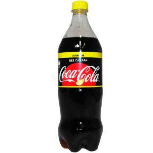 Coca-Cola Zero, Lemon, 1 л, Кока-Кола Зеро, Лимон, Вода сладкая, низкокалорийная, ПЭТ