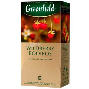 Greenfield, Wildberry Rooibos, 25 пак., Чай Гринфилд, Вайлдберриз Ройбуш, травяной, ройбуш-земляника-клюква