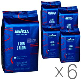 Lavazza, Crema e Aroma Espresso, упаковка 6 шт. по 1 кг, Кава Лаваца, Крему е Арома Еспрессо, середнього обсмаження, в зернах