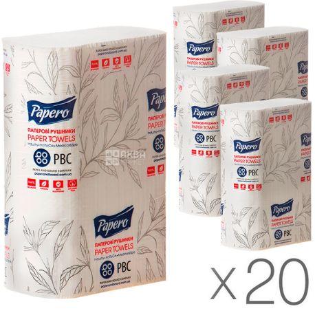 КПК, 20 упаковок по 200 листов, Бумажные полотенца, 2-х слойные, ZZ-сложения