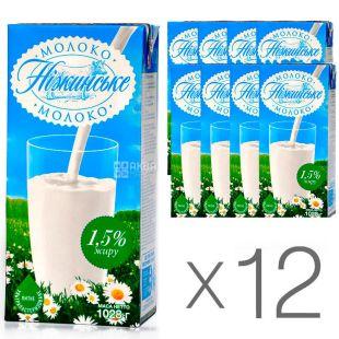 Нежинское, Молоко ультрапастеризованное 1,5%, 1 л, упаковка 12 шт.