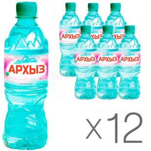 Arkhyz, Non-carbonated mineral water, 0.5 l, PET, Packaging 12 pcs., PAT