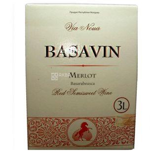 Basavin Merlot Вино, 3,0 л, Коробка