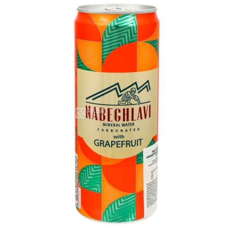 Nabeghlavi, 0,33 л, Набеглави, Вода газированная Грейпфрут, ж/б