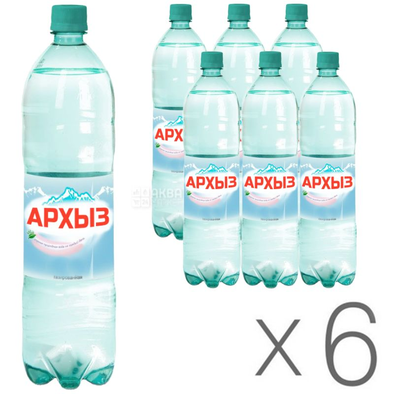 Arkhyz, 1.5 L, Pack of 6 pcs., Mineral carbonated water, PET