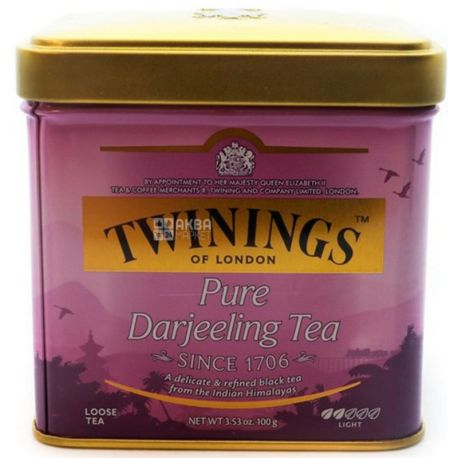 Twinings Pure Darjeeling Tea, 100 г, Чай Твайнінгс, Чистий Дарджилінг, чорний середньолистовий