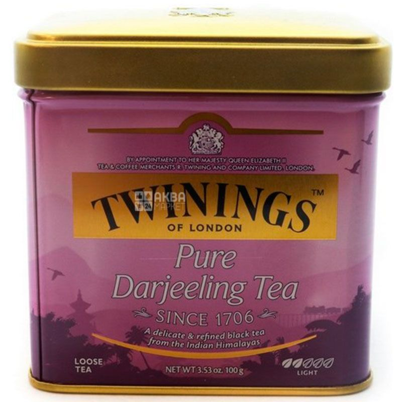 Twinings Pure Darjeeling Tea, 100 г, Чай Твайнингс, Пьюр Дарджилинг, черный среднелистовой