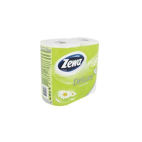 Zewa Deluxe, 4 рул., Туалетная бумага Делюкс, Ромашка, 3-х слойная