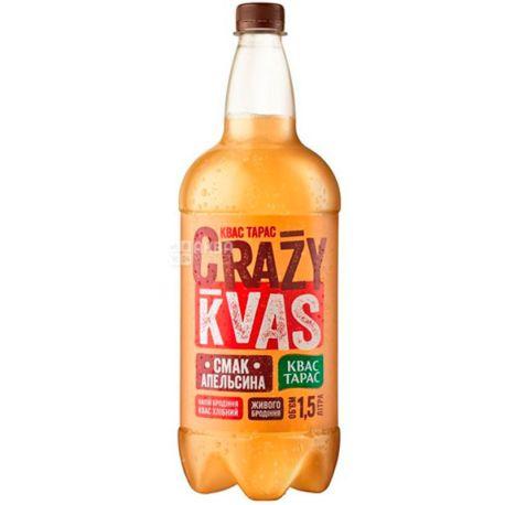 Квас Тарас Crazy Kvas, 1,5 л, Квас живого брожения со вкусом апельсина, ПЭТ