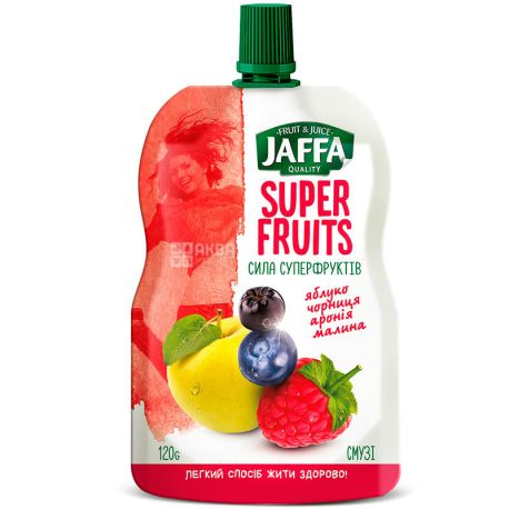 Jaffa, Super Fruits, Яблуко-чорниця-аронія-малина, 120 г, Джаффа, Сила суперфруктов, Смузі натуральний