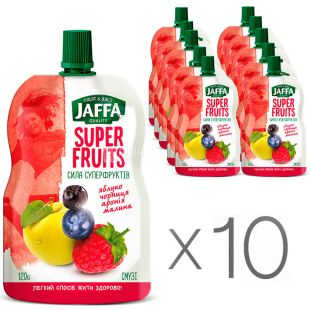Jaffa, Super Fruits, Яблуко-чорниця-аронія-малина, Упаковка 10 шт. по 120 г, Джаффа, Сила суперфруктов, Смузі натуральний