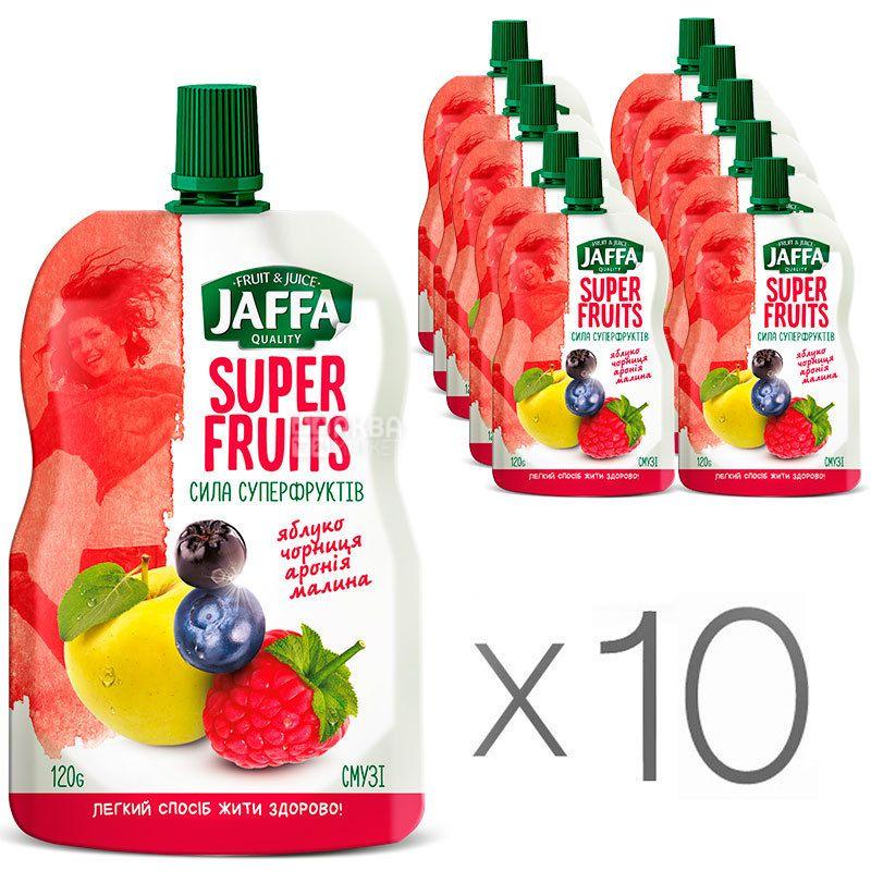 Jaffa, Super Fruits, Яблоко-черника-арония-малина, Упаковка 10 шт. по 120 г, Джаффа, Сила суперфруктов, Смузи натуральный