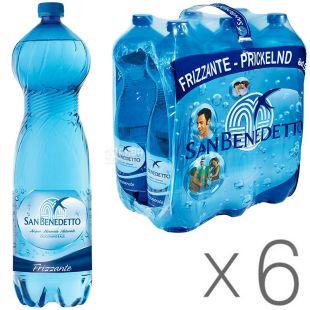 San Benedetto, 1,5 л, Упаковка 6 шт., Сан Бенедетто, Вода минеральная газированная, ПЭТ
