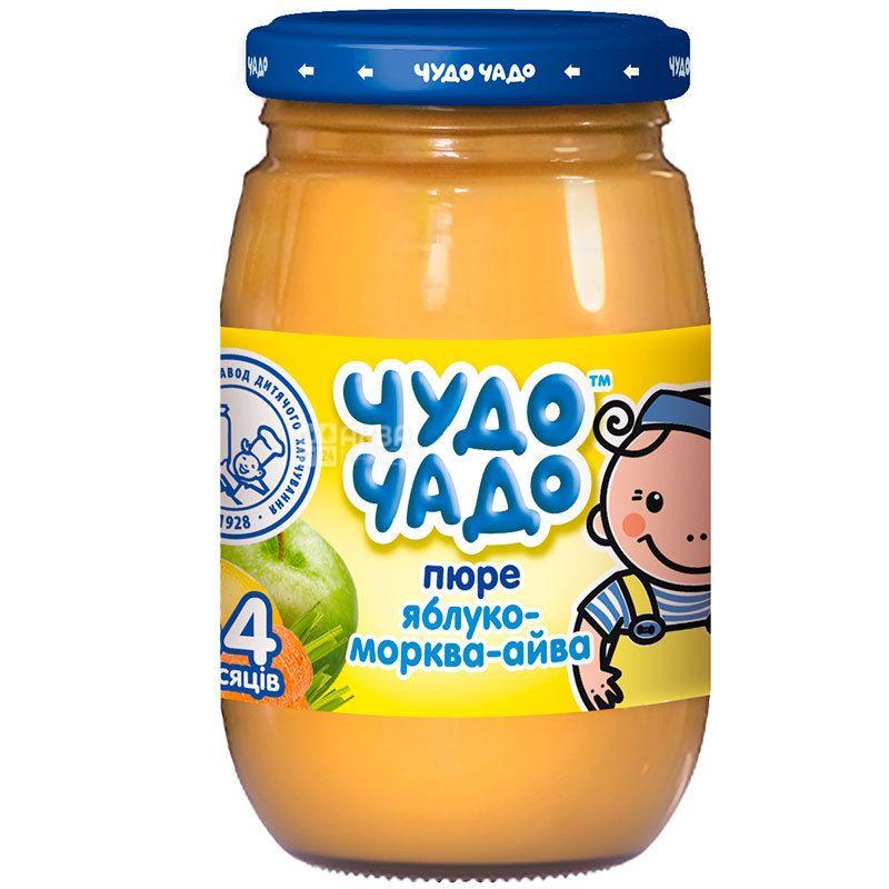 Чудо-Чадо, пюре для малышей, яблоко-морковь-айва, с сахаром и витамином С, с 4-х месяцев, 170 г