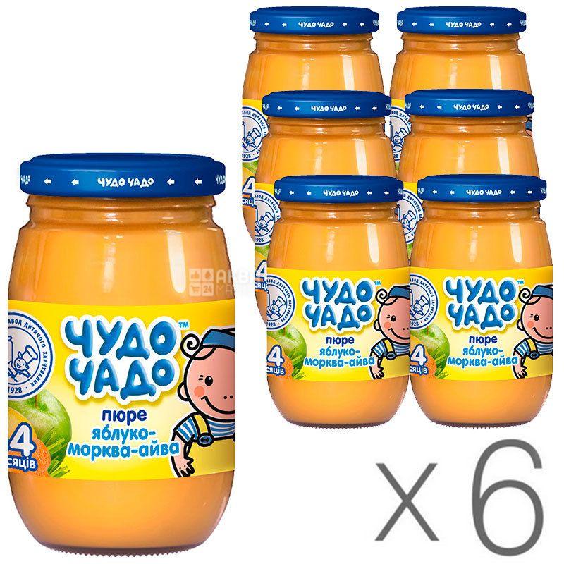 Чудо-чадо, Пюре детское, яблоко-морковь-айва, с сахаром и витамином С, 170 г, упаковка 6 шт.