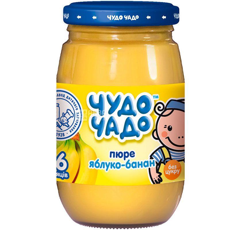 Чудо-Чадо, пюре для малышей, яблочно-банановое с сахаром, с 6-ти месяцев, 170 г