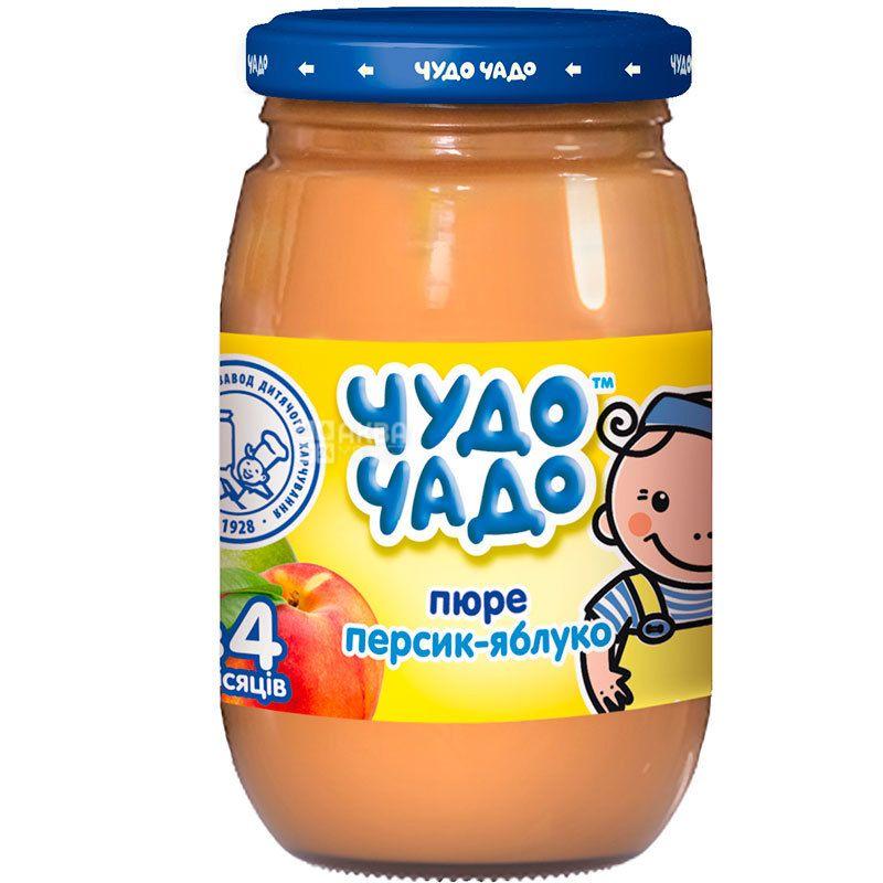Чудо-Чадо, пюре для малышей, яблочно-персиковое, с сахаром, с 5-ти месяцев, 170 г