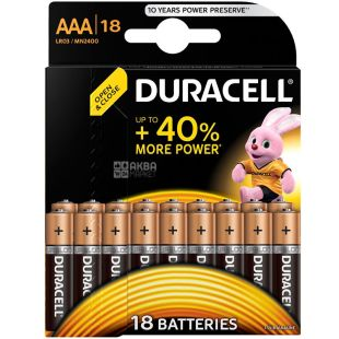 Duracell, AAA, 18 шт., Батарейки, LR03