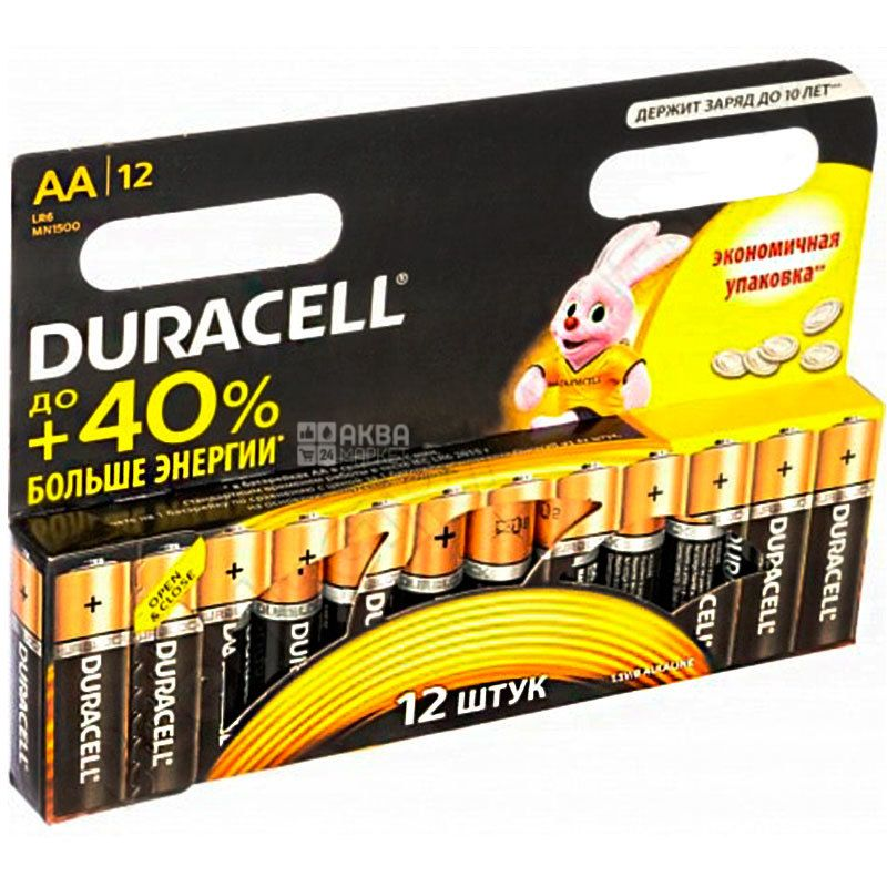 Duracell, 12 шт., АА, Батарейки, Basic