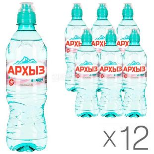 Arkhyz, 0.5 L, pack of 12 pcs., Non-carbonated mineral water, sports, PET