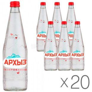 Arkhyz, 0.5 L, Pack of 20 pcs., Mineral carbonated water, glass